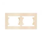 Рамка двойная горизонтальная кремовая MAKEL