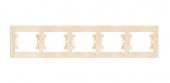 Рамка 5 горизонтальная кремовая MAKEL